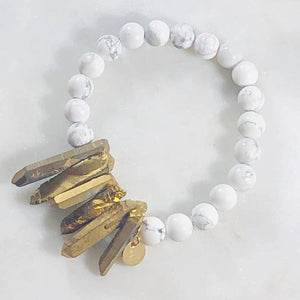 Peace White Howlite Stacking Bracelet