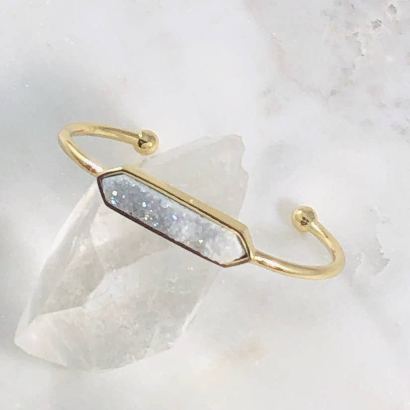 Zeta Druzy Agate Bangle White