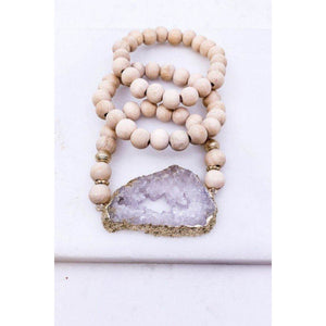 White Druzy Wood Bead Bracelet