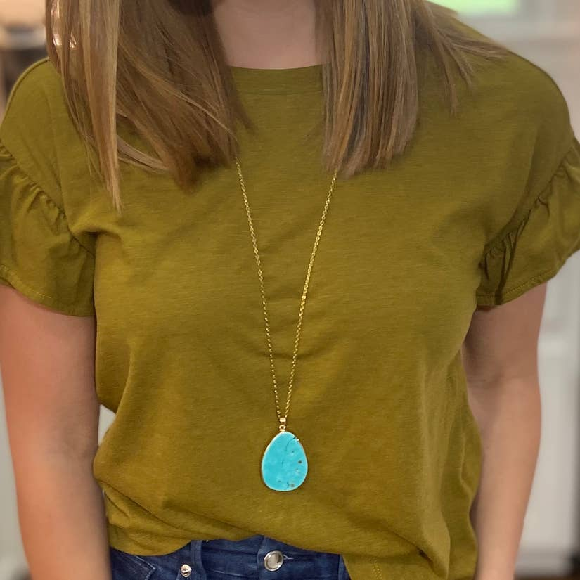 Statement Turquoise Drop Pendant Necklace