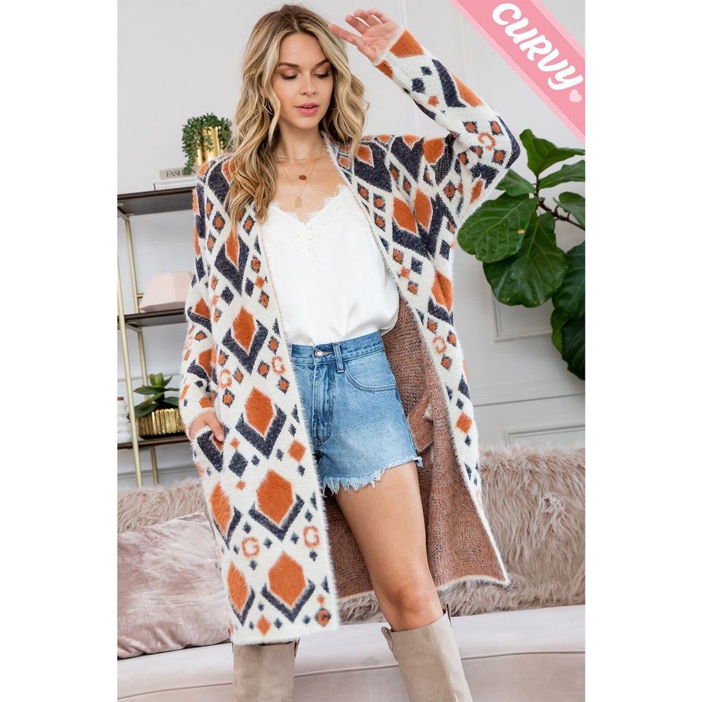 Aztec Print Long Sweater Cardigan Regular & Curvy Sizes