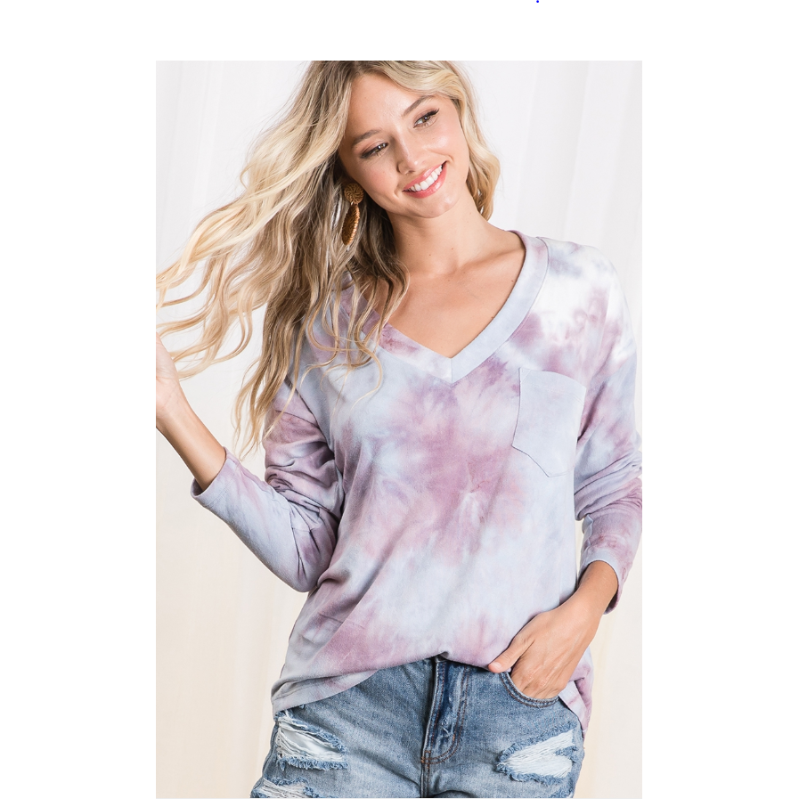 Tie Dye V Neck L/S Top