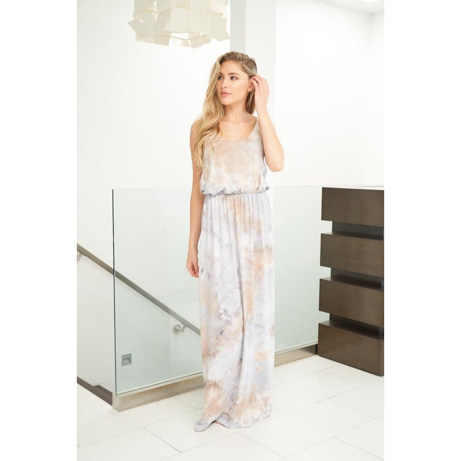 Sleeveless Tie Dye Maxi Dress