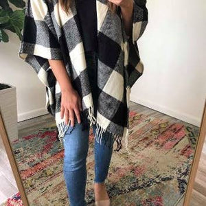 Cozy White Buffalo Check Plaid Open Poncho