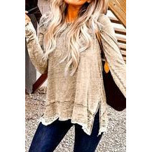Long Sleeve Discharged Loose Fit Top