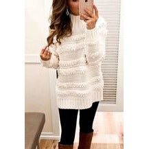 High Neck Texture Knitted Sweater Top