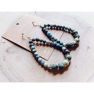 African Turquoise Gemstone Hoops