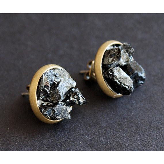 Raw Black Tourmaline Cluster Stud Earrings
