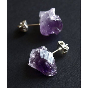 Raw Amethyst Chunk Earrings