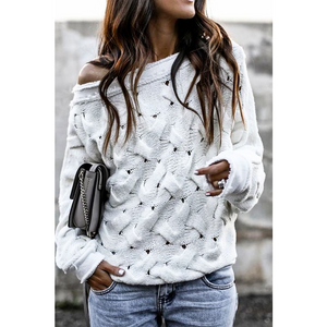 Boat Neck Cream Sweater