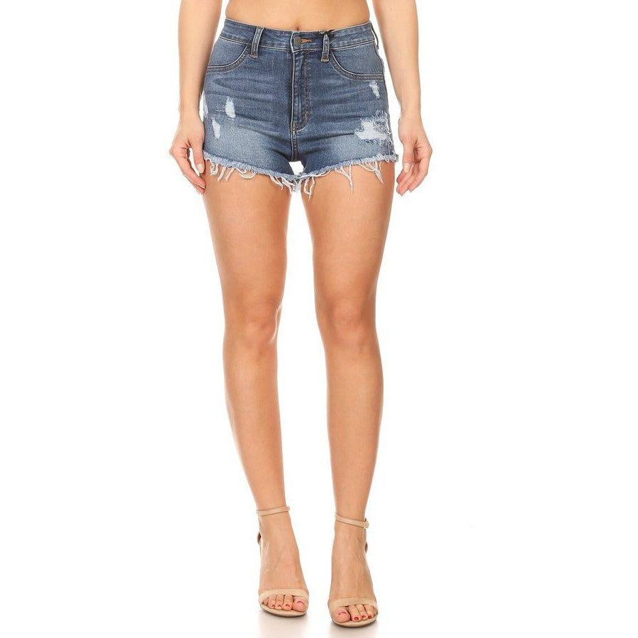 Distressed Denim Shorts - Lilac Clothing Company LLC