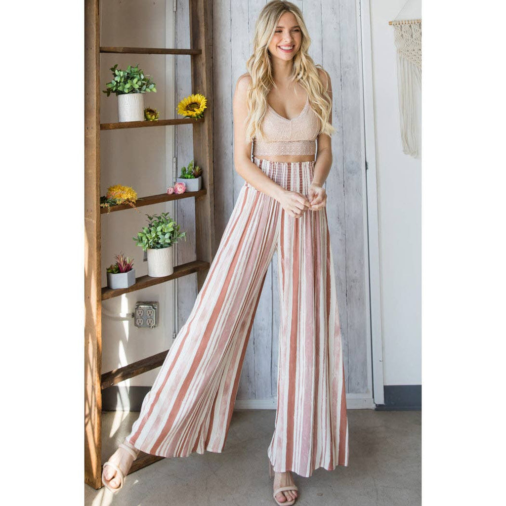 Striped Smocked Wide Leg Pants