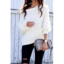 Boat Neck Fringe Sweater