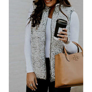 Sleeveless Faux Fur Sweater Vest