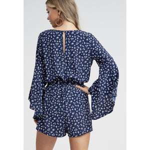 Bell Sleeve Floral Woven Romper - Lilac Clothing Company LLC