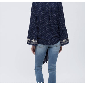 Dotted Embroidered Bell Sleeve Top - Lilac Clothing Company LLC