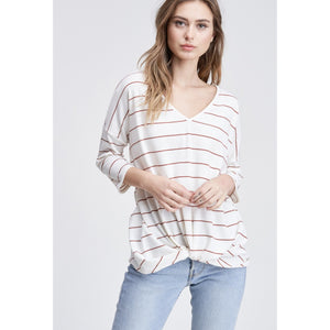 Striped Gathered Twist Front Top Rust/White - Lilac Clothing Company LLC
