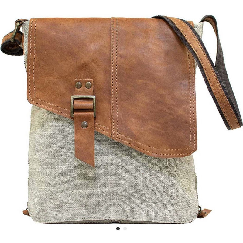 Ash Grey Jute & Leather Expandable Crossbody - Lilac Clothing Company LLC