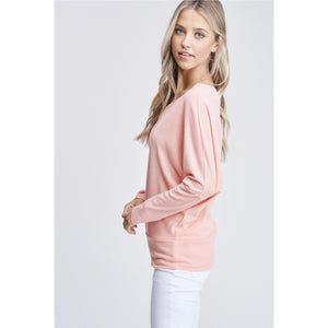 Long Sleeve Waffle Neck V Neck Top - Lilac Clothing Company LLC