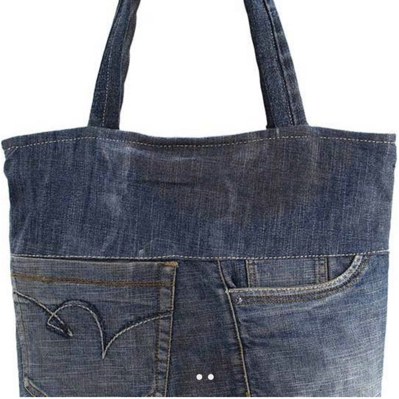 Recycled Denim Tote - Lilac Clothing Company LLC