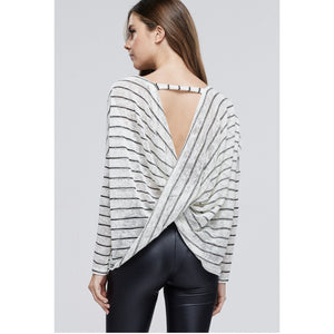 Open Back Twist Striped Knit Top - Lilac Clothing Company LLC