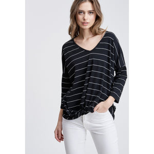 Striped Gathered Twist Front Top - Lilac Clothing Company LLC