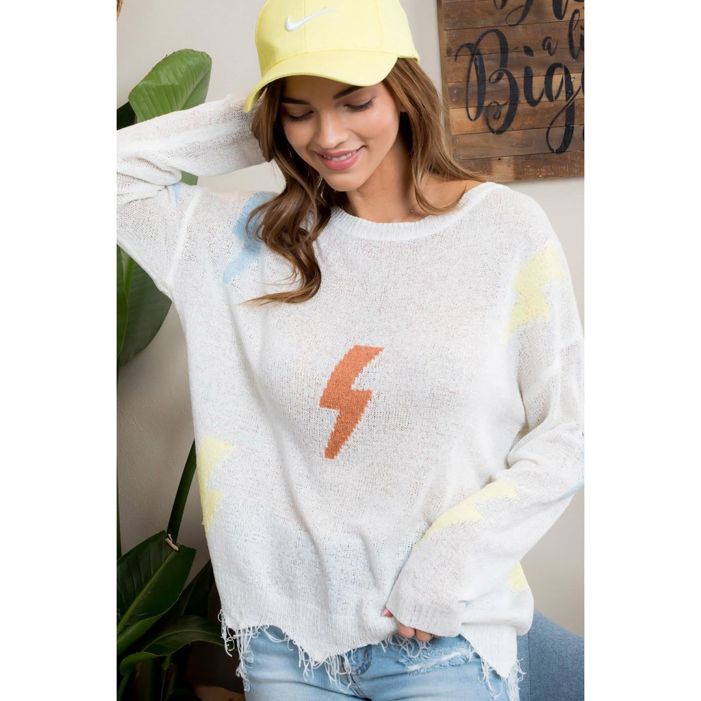 Frayed Lightning Bolt Sweater