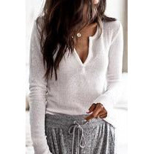 Long Sleeve Grey Knit Top
