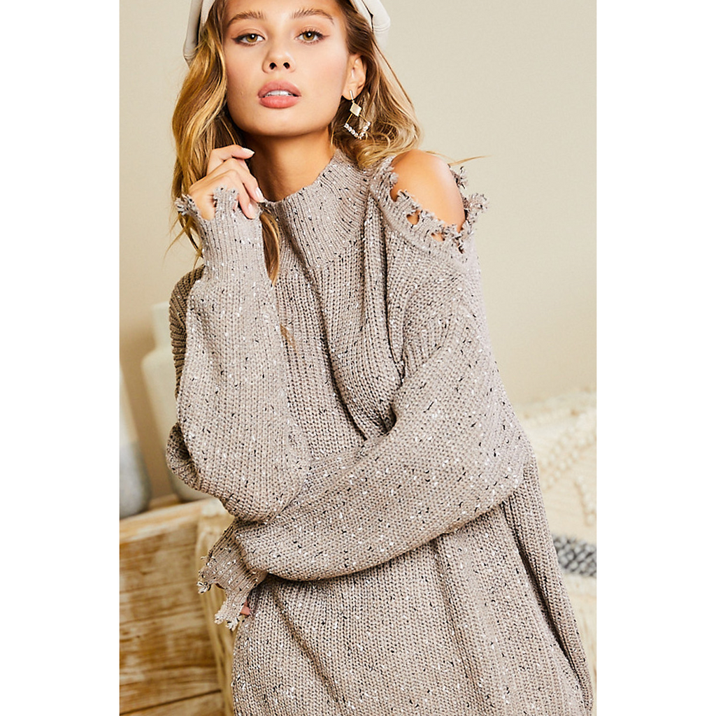 Taupe Open Shoulder Sweater