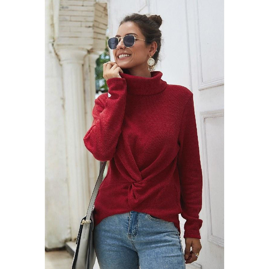 Red Front Twist Sweater