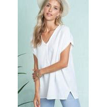 White Raw Hem Top