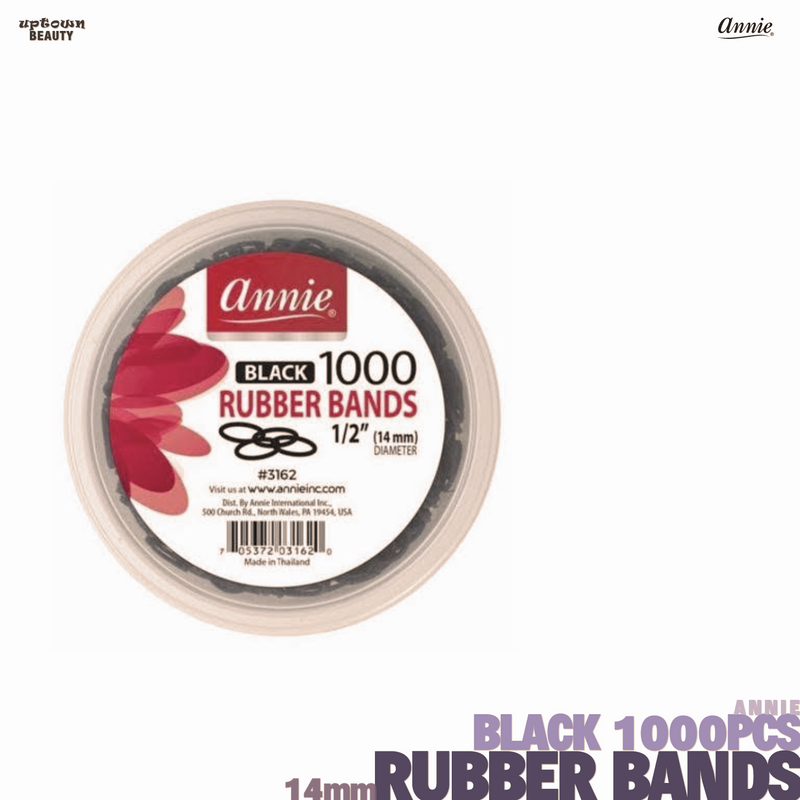 ANNIE Black Rubber Bands ½inches 14mm-1000pcs