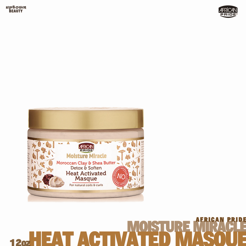 African Pride Moisture Miracle Moroccan Clay & Shea Butter Detox & Soften Heat Activated Masque 12oz