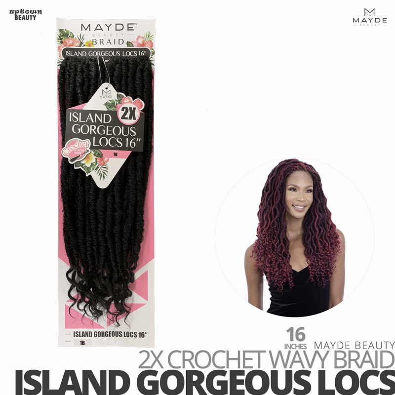 MAYDE BEAUTY 2X Wavy Crochet Braid #Island Gorgeous Locs # 16 inches