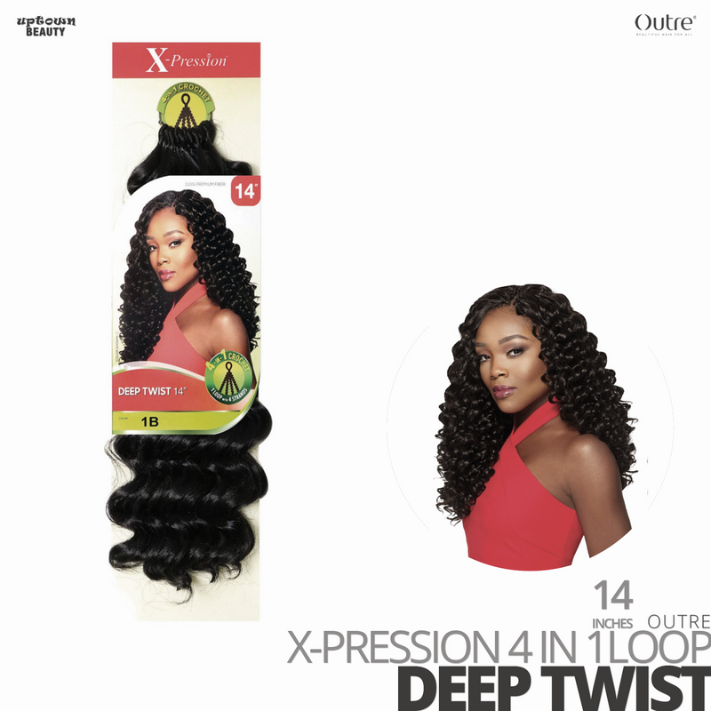 OUTRE Synthetic Crochet Hair Braids  X-PRESSION 4 IN 1 Loop#Deep Twist #14 inches