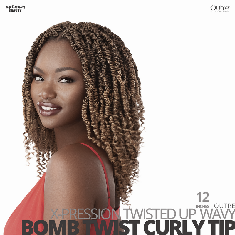 OUTRE Synthetic Crochet Hair Braids  X-PRESSION Twisted-Up #Wavy Bomb Twist Curly Tip#12 inches