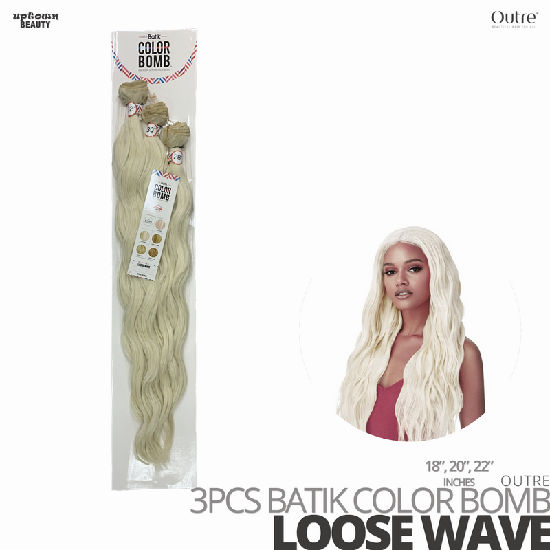 OUTRE Synthetic Weave Batik Color Bomb # Loose Wave #18-20-22 inches