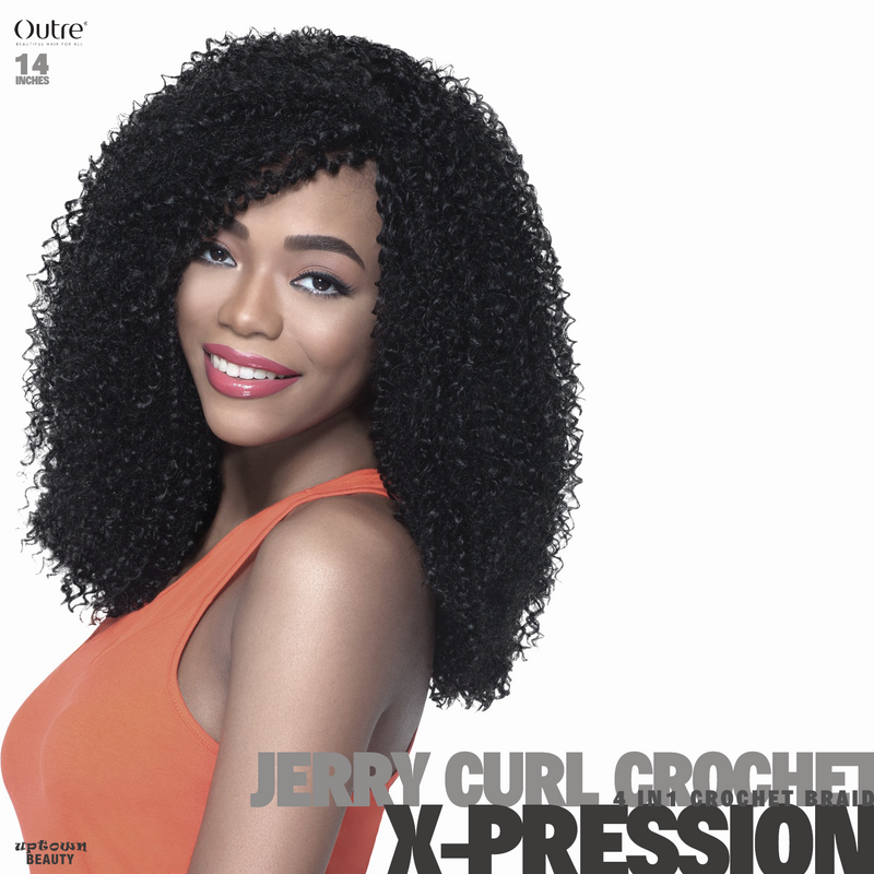 Outre Synthetic Hair Crochet Braids X-Pression Braid 4 In 1 Loop Jerry Curl 14 inch