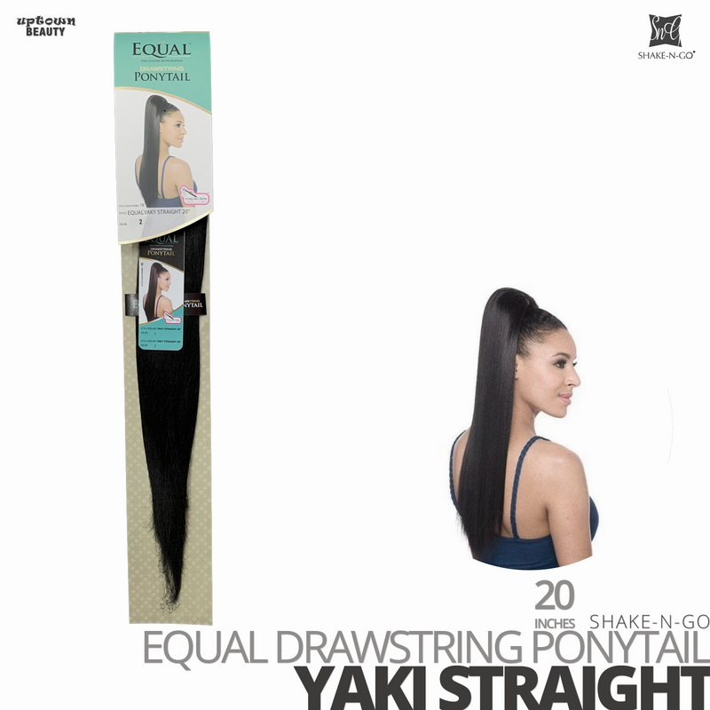 SHAKE-N-GO FreeTress Equal Drawstring Ponytail # Yaki Straight # 20 inches