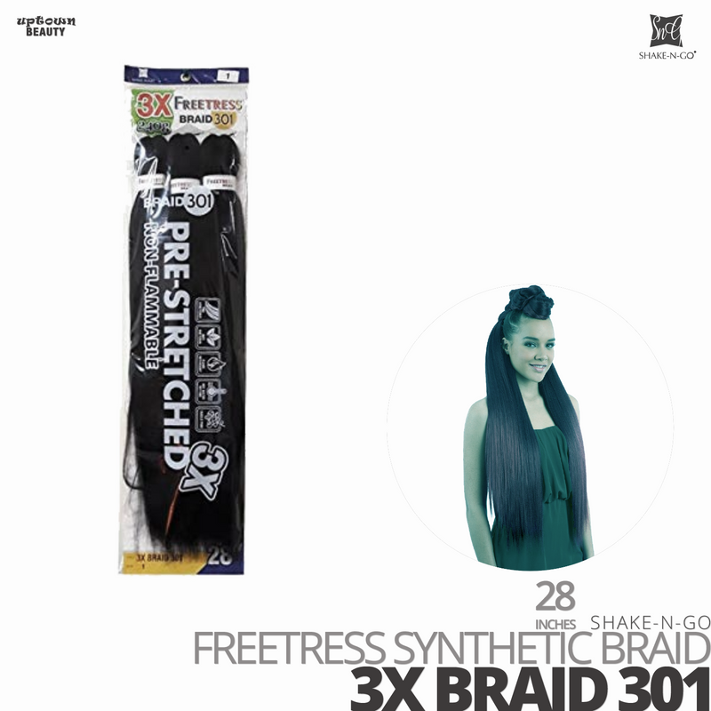 SHAKE-N-GO Freetress Synthetic 3X BRAID HAIR  #301 #28 inches