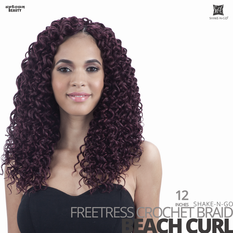 SHAKE-N-GO Freetress Synthetic Hair Crochet BRAID #Beach Curl #12 inches
