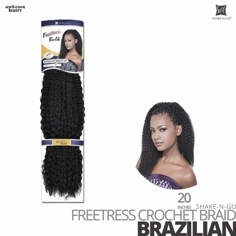 SHAKE-N-GO Freetress Synthetic Hair Crochet BRAID #Brazilian #20 inches