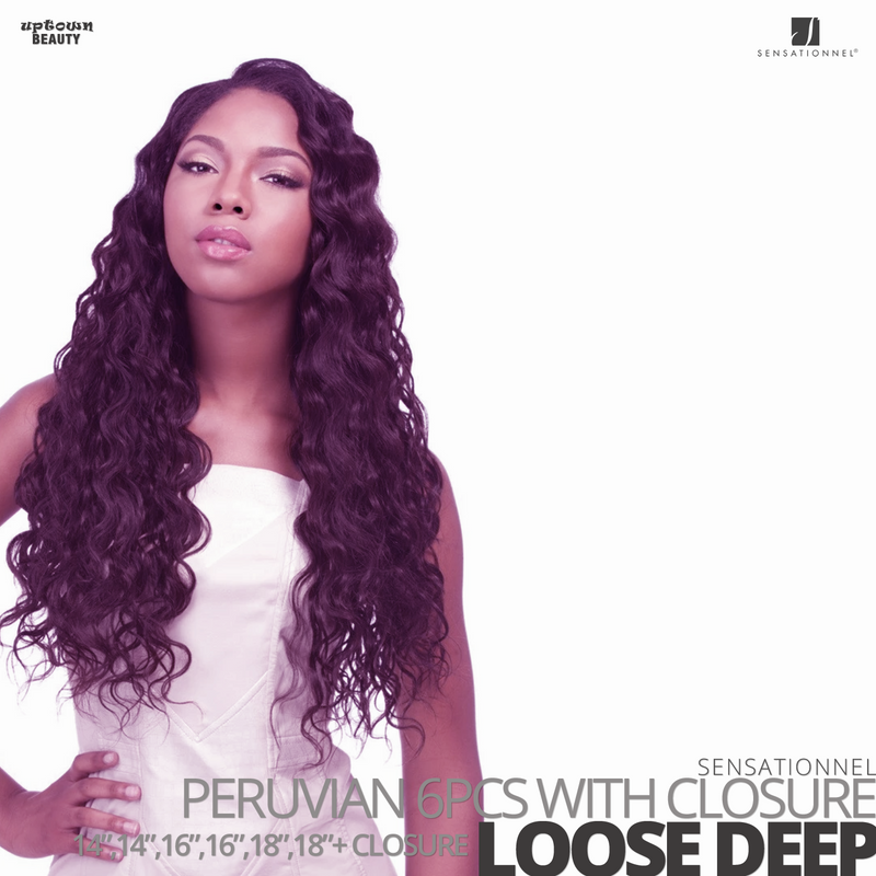 Sensationnel Bare&Natural Bundle Pack Virgin Human Hair #Loose Deep #14.14.16.16.18.18 inches with Closure