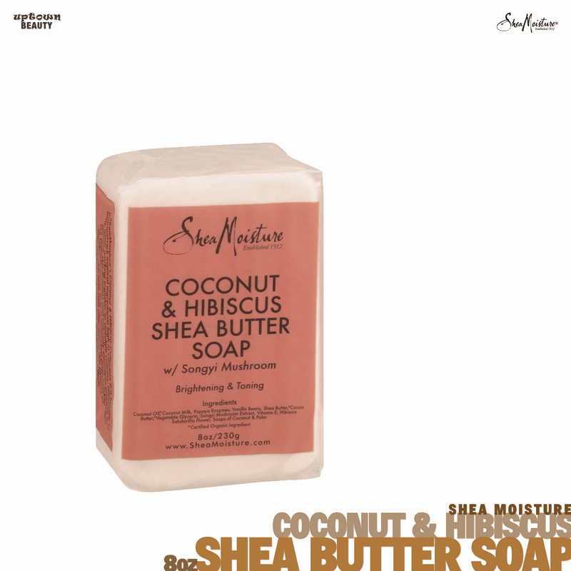 Shea Moisture African Coconut & Hibiscus Shea Butter Soap with Songyi Mushroom BRIGHTENING & TONING 8 oz