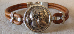 Alexander Coin Bracelet with brown leather band