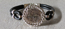 Atocha Coin Bracelet with black leather band 2