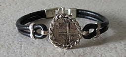 Atocha Coin Bracelet with black leather band 4