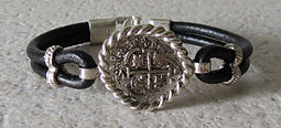 Atocha Coin Bracelet with black leather band 5