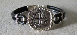 Atocha Coin Bracelet with black leather band 6