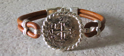 Atocha Coin Bracelet with brown leather band 4